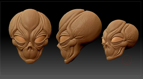 Alien heads in three views.